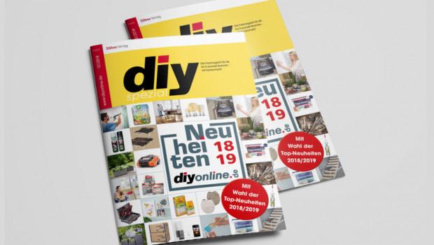 """Das diy-spezial """"Neuheiten 2018/19"""" präsentiert auf mehr als 30 Seiten neue Produkte aus den Sortimentsbereichen DIY, Bau und Garten/Heimtier."""