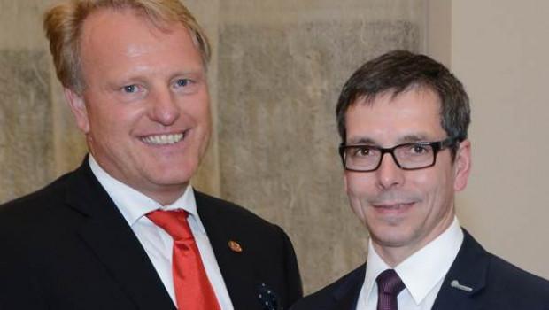 Roger Rinck (l.) und Georg Vos stehen an der Aufsichtsratsspitze von Baustoffring EMV-Profi.