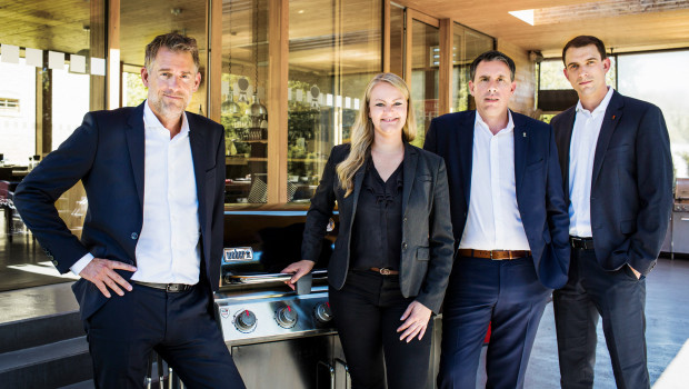 Die Managementspitze von Weber-Stephen Deutschland wurde neu formiert (v. l.): Michael Reuter, Simone Weber, Frank Rommersbach und Dominic Steinbach.
