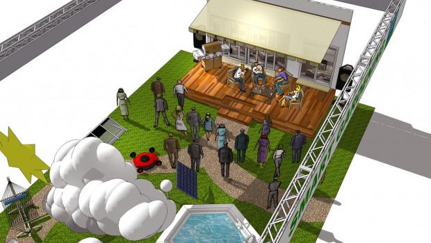So sieht die Themeninsel Smart Gardening auf der Spoga+Gafa in der Planung aus.