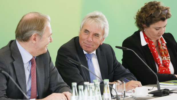 Gerald Böse, Vorsitzender der Geschäftsführung, Jürgen Roters, Oberbürgermeister der Stadt Köln und Aufsichtsratsvorsitzender, und Geschäftsführerin Katharina C. Hamma stellten die Planungen der Koelnmesse auf der Jahrespressekonferenz vor.