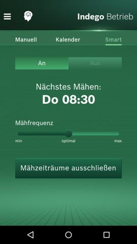Die neue App für den Indego übernimmt die Berechnung des optimalen Mähzeitpunkts.