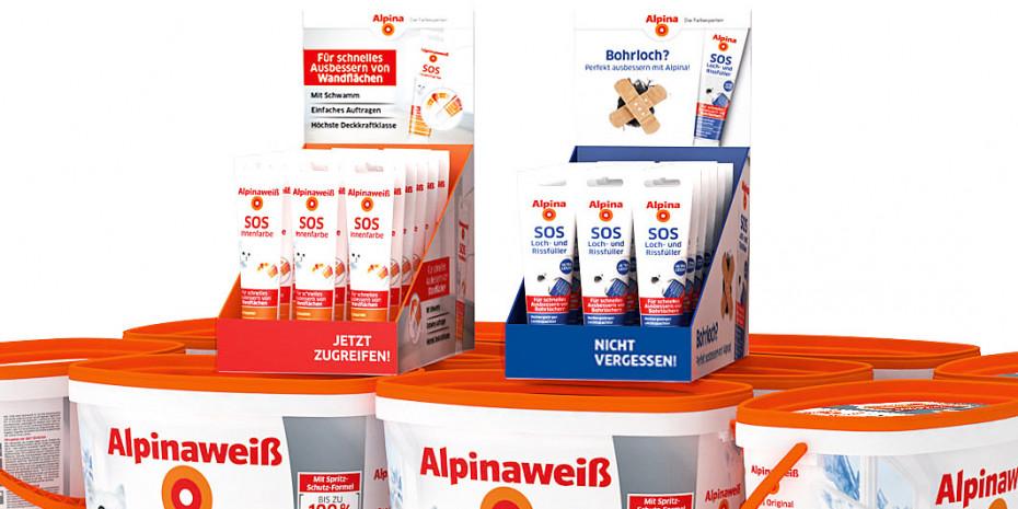 Alpinaweiß SOS Innenfarbe und Alpina Loch- und Rissfüller im 20er-Verkaufsdisplay locken mit klarer, nutzenorientierter Kundenansprache.