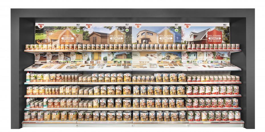 Gezielte Konsumentenführung: Alpina Regal-Kojen mit guter Fernwirkung, hoher Beratungsleistung im selbsterklärenden Kojenbereich und Auswahl bewährter Produktschnelldreher für Spontankäufe.