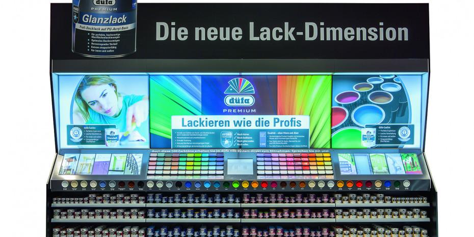 POS-Regal der neuen Meffert-Produktgeneration Düfa Premium.