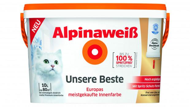 """Alpina will mit """"Alpnaweiß Unsere Beste"""" jetzt auch das Spitzensegment im Weißsortiment besetzen."""
