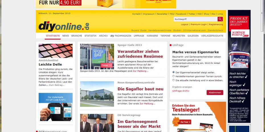 Die neu gestaltete Startseite von diyonline.de: neue Signalfarben, übersichtliche Struktur.