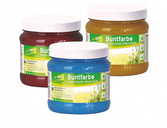 Neu im Sortiment sind auch verschiedene bunte Mineralfarben auf Silikatbasis.