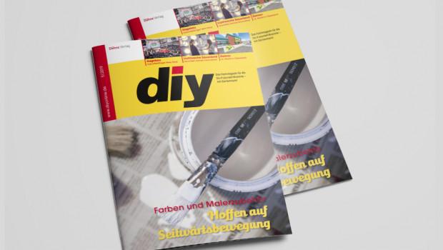 Titeltehma der Mai-Ausgabe des Fachmagazins diy ist das Sortiment Farben und Malerzubehör.