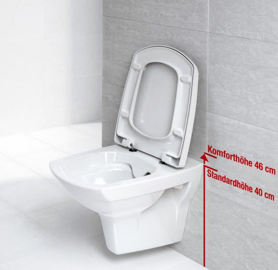 Bei Komfort-WCs ist die Sitzhöhe im Vergleichzu herkömmlichen WCs erhöht.