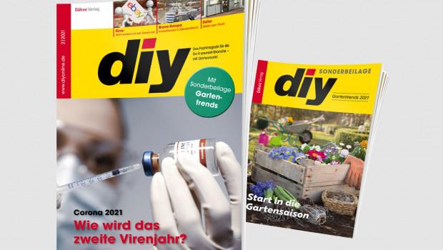 """Die Februar-Ausgabe des Fachmagazins diy ist mit einer Sonderbeilage """"Gartentrends 2021"""" herausgekommen."""