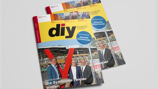 Titelthema Eurobaustoff, Sortimentsthema Wohntrends: die aktuelle Ausgabe von diy.