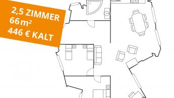Die gesuchte Wohnung: 66 m², 2,5 Zimmer, 446 Euro kalt