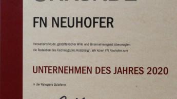 Auszeichnung für FN Neuhofer würdigt Investitionen