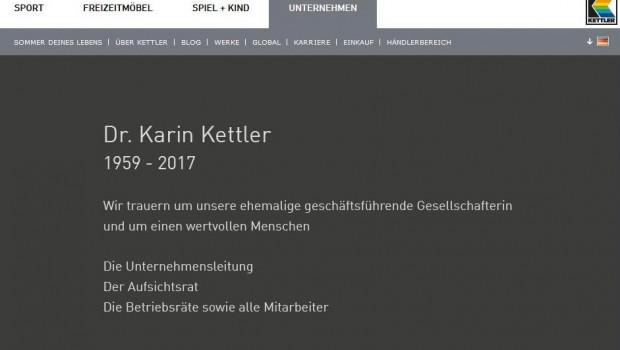 Die Kettler-Mitarbeiter trauern um ihre ehemalige geschäftsführende Gesellschafterin: Eintrag auf der Kettler-Homepage.