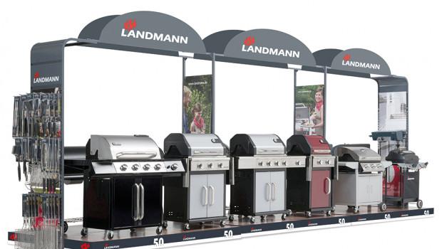 Für die Präsentation der Landmann-Produkte stehen drei Vermarktungsmodule bereit.