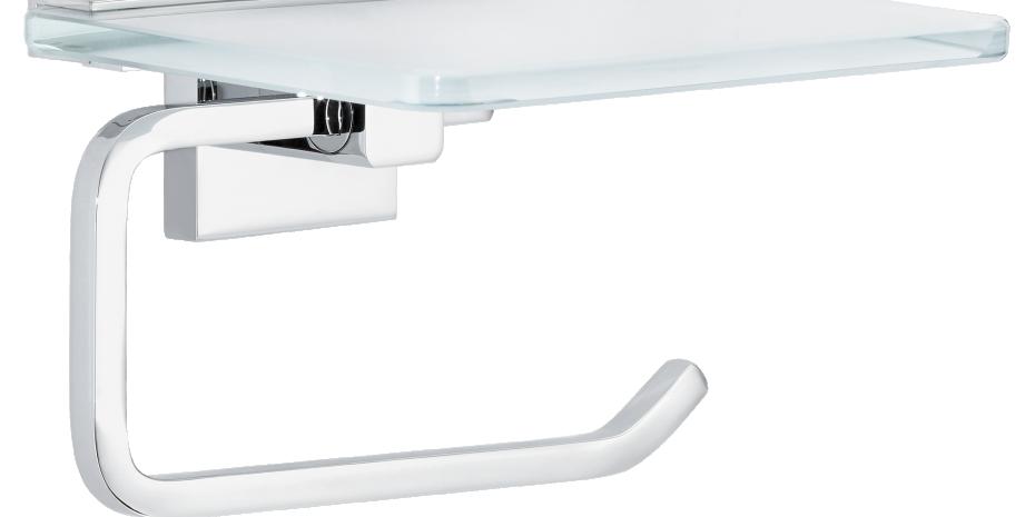 """In den """"Deluxxe""""-Toilettenpapierhalter wurde eine Ablage aus Milchglas integriert, auf der sich beispielsweise ein Smartphone lagern lässt."""