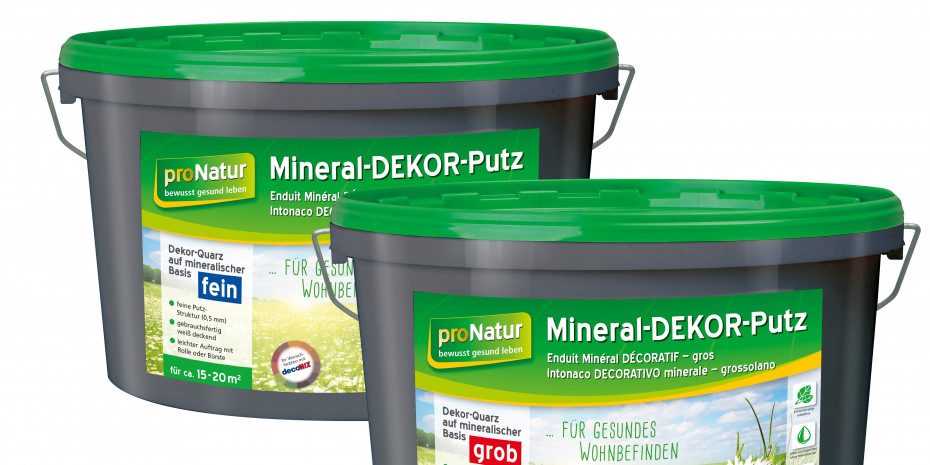 Der Mineral-Dekor-Putz ist mit fein- und grobkörniger Struktur erhältlich.