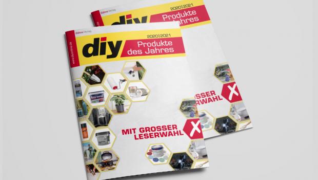 In einer Sonderbeilage und im Netz stellt die diy-Redaktion die Neuheiten aus der DIY- und Gartenbranche vor, die sich der Wahl zum diy Produkt des Jahres 2020/2021 stellen.