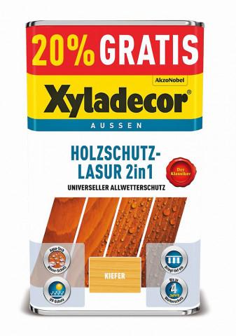 Zum 15-jährigen Jubiläum der Holzschutz-Lasur 2in1 von Xyladecor gibt es das 5-Liter-Gebinde mit 20 Prozent mehr Inhalt zum gleichen Preis.