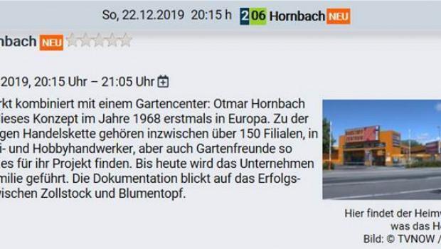 Der Ankündigungstext für die Hornbach-Dokumentation im TV-Sender ntv.