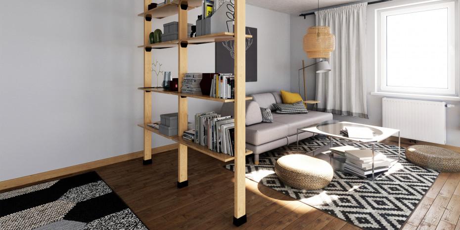 """""""FN roomy"""" kann als Regal, Ablageplatz oder als Raumteiler mit Sichtschutz verwendet werden."""