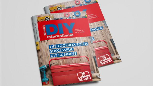 In diesem Jahr begeht die Fachzeitschrift DIY International ihren 30. Geburtstag - die Titelseite der Ausgabe 2/2019 ist dem Jubiläum gewidmet.
