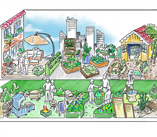 Hier kommen verschiedene Warengruppen zusammen: Lebendes Grün, Technik und Outdoor Living-Produkte machen den Garten zur Erlebniswelt für die ganze Familie.