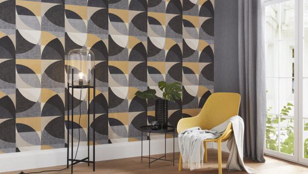 Reine Formsache: Tapeten mit geometrischen Motiven, hier im Retro-Stil, bleiben up to date.