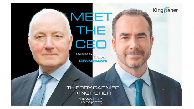 Der Franzose Thierry Garnier (r.) ist seit Herbst 2019 Chef des britischen Kingfisher-Konzerns. Im Interview mit John Herbert will er die neue Strategie der zweitgrößten europäischen Baumarktgruppe erläutern.