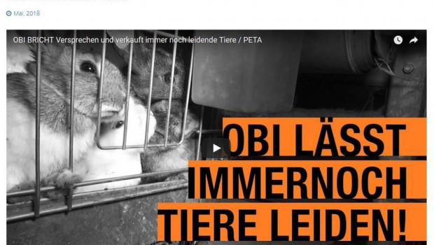 Peta plant wegen eines angeblich gebrochenen Versprechens zur Verabschiedung von Lebendtierverkäufen eine Demo für den 6. Juni vor der Obi-Zentrale.