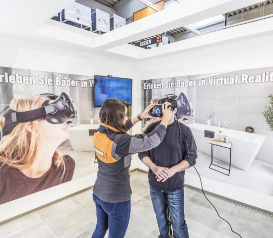 Neu im Markt: virtuelle Realität in der Sanitär- und Bäderabteilung.