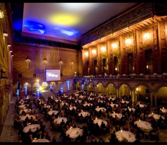 Die Preisverleihung findet im Blauen Saal statt.