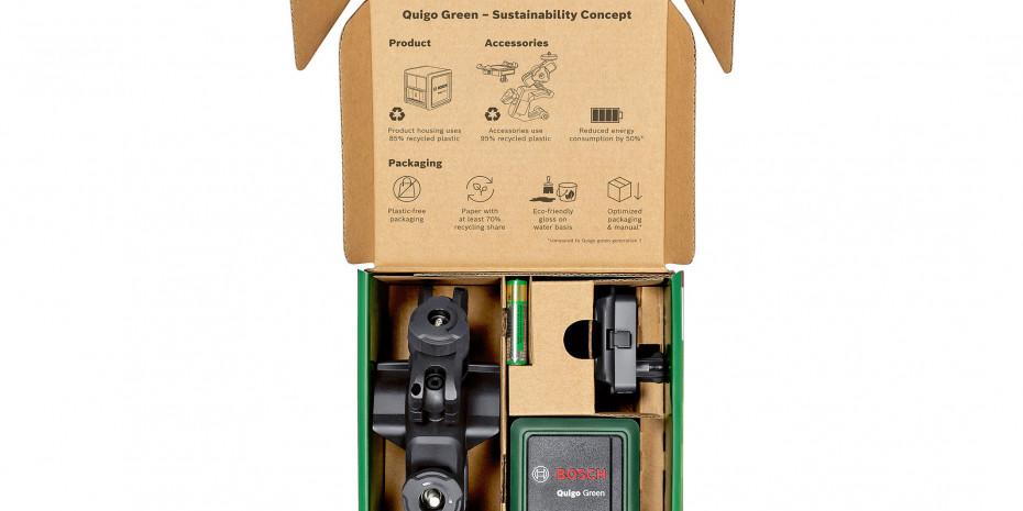Die neue Generation des Kreuzlinienlasers Quigo Green von Bosch für Heimwerker besteht samt Gehäuse und Zubehör zu 90 Prozent aus recyceltem Kunststoff.