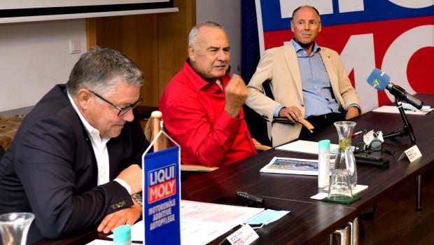 In einer Pressekonferenz informierten (von links) Peter Baumann, Ernst Prost und Harti Weirather über die Partnerschaft.