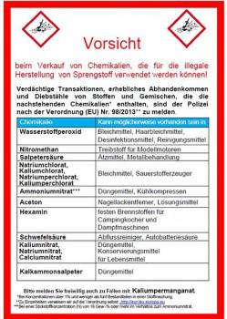 Die Handreichung des BKA listet 16 Chemikalien auf, bei deren Verkauf die Baumarktmitarbeiter besonders aufmerksam sein sollten.