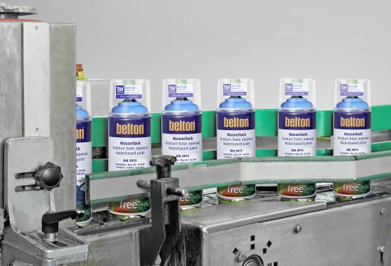 Die Bandabfüllung der Belton free Wasserlacke erfolgt in Gundelsheim.