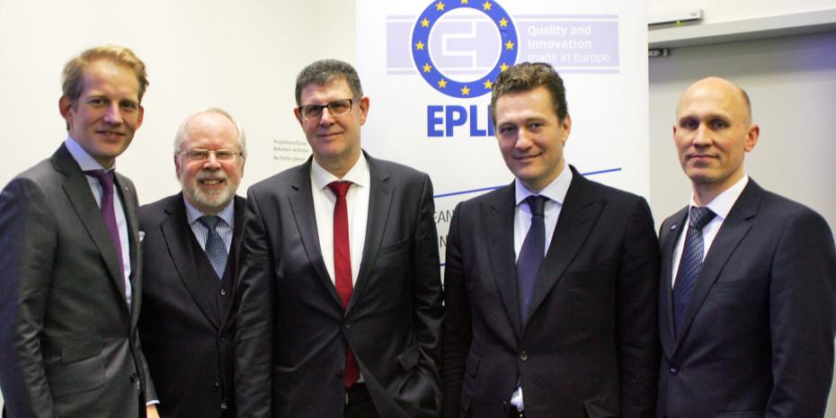 EPLF-Vorstand und -Geschäftsführung in Hannover (v. l.): Max von Tippelskirch, Peter H. Meyer, Ludger Schindler, Paul de Cock und Eberhard Herrmann.
