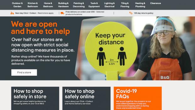 B&Q hat damit begonnen, seine Märkte in Großbritannien wieder zu öffnen, und erklärt auch im Netz die Hygieneregeln.