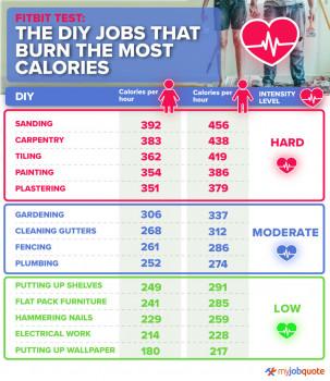 Je drei Männer und Frauen wurden getestet: Laut der britischen Seite MyJobQuote.co.uk sind diese 14 DIY-Arbeiten mit folgendem Kalorien-Verbrauch verbunden.