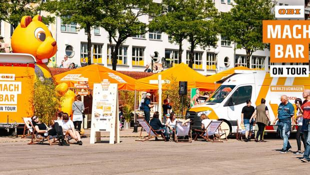 Die Obi MachBar on Tour macht vom 8. bis zum 22. August 2019 Station in Leipzig.