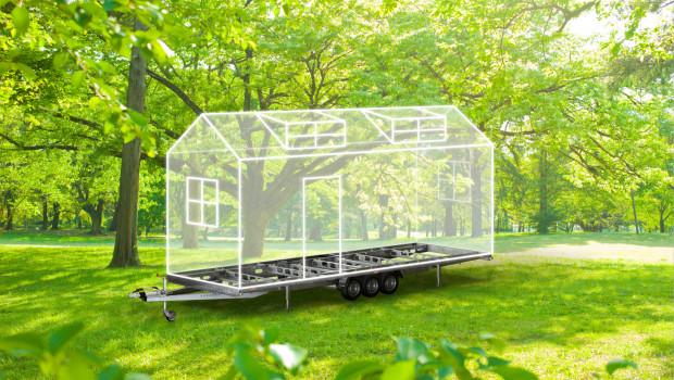 Das Al-Ko-Chassis für Tiny Houses ist als Hoch- und Tiefladervariante mit zwei oder drei Achsen erhältlich.