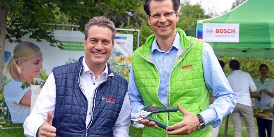 Bosch EasyPrune,  Bereichsvorstand Henning von Boxberg (r.) und Geschäftsführer Henk Becker
