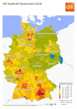 Die Karte der GfK verdeutlicht die Kaufkraftverteilung nach Stadt- und Landkreisen.