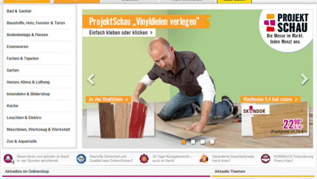 Der Online-Shop von Hornbach ist bei den heimwerkenden Usern am beliebtesten.