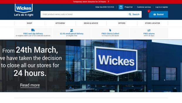 Wickes hat seine Märkte für 24 Stunden geschlossen.