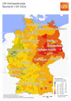 Die GfK-Online-Potenziale weisen für die Sortimentsgruppe Baumarkt/DIY hohe Werte in Regionen Ost- und Norddeutschlands aus.