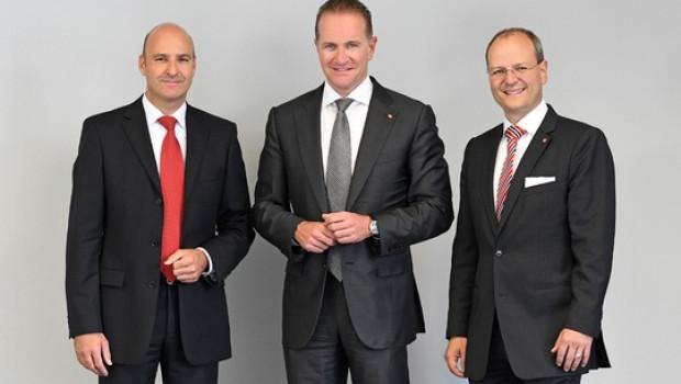 Der Vorstand der Einhell Germany AG, (v.l.) Jan Teichert (Vorstand Finanzen), Andreas Kroiss (Vorstandsvorsitzender) und Dr. Markus Thannhuber (Vorstand Technik und Entwicklung), stellten gestern die Einhell-Zahlen für 2018 vor.