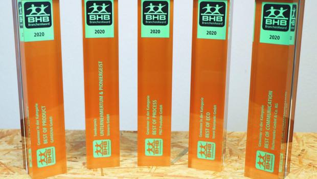 Die fünf Preisträger der diesjährigen BHB-Branchen-Awards sind Toom, Gardena, Fischer, PNZ und Bionero.