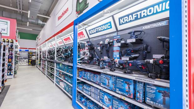 So wird das Kraftronic-Sortiment im Regal präsentiert.